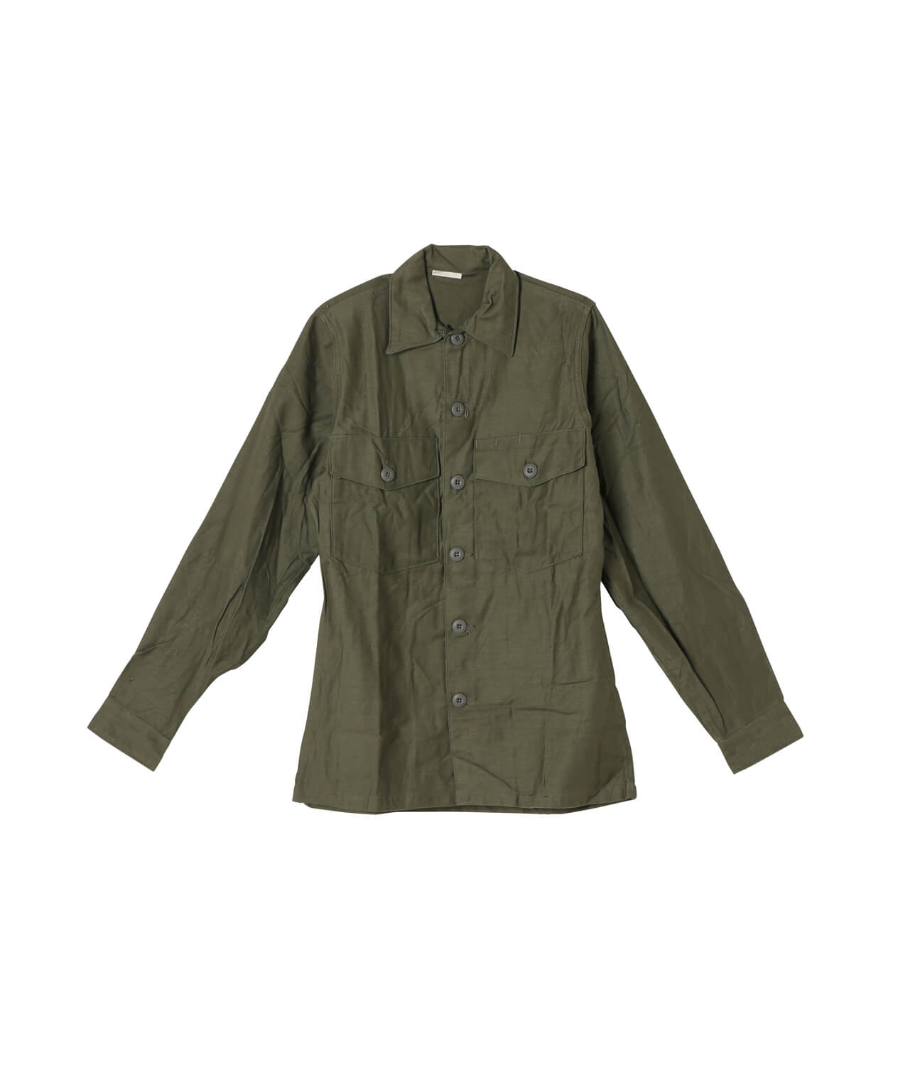 USED/US MILITARY W's COTTON SATEN UTILITY SHIRT DEAD STOCK 詳細画像 OLIVE 1