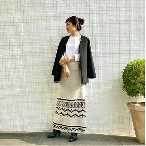 Race jakcet × Knit skirt Coordinate