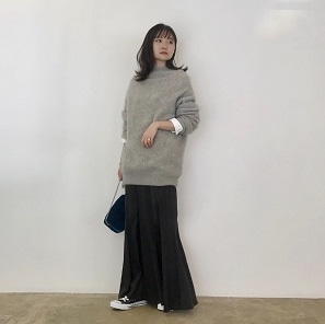 Knit × Silk skirt Cordinate